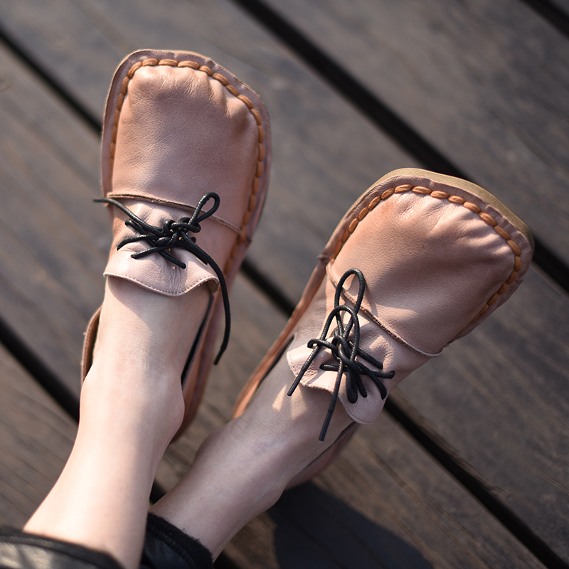 Artmu Fashion Women Shoes Flats Square Toe Loafers Shoes Handmade Genuine Leather Shoes Woman Soft Sofes Shoes Soft Bottom timetang 2018 buckle knitted women single shoes square toe ballet flats soft bottom fashion work shoes woman flat shoes c084