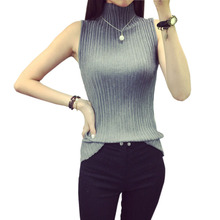 2016 Summer Autumn Women's Turtleneck Knitted Sweater Sleeveless Knitted Pullover Slim Casual Sweaters Knitting Vest Pull Femme