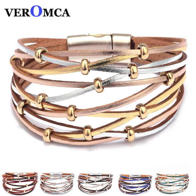 Multilayer Leather Bracelets for Women Femme  Metal Beads Charm Bohemian Style Bracelet friendship woman Jewelry 6 Colors