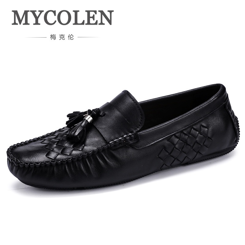 MYCOLEN Luxury Brand High Quality Genuine Leather Men Casual Driving Shoes Breathable Soft Moccasins Loafers Flat Shoes Men mycolen high quality men white leather shoes fashion high top men s casual shoes breathable man lace up brand shoes
