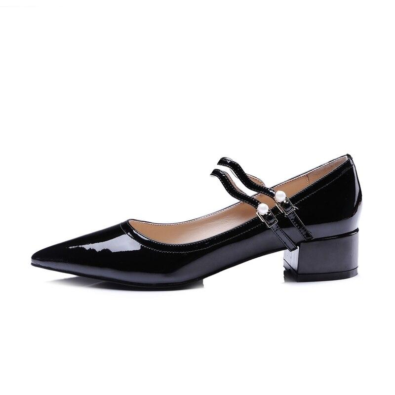 Correa Zapatos Enmayla Tacón Hebilla Mujer Dedo Casuales Del 34 Zyl2277 Black Genuino Puntiagudo Cuero Bombas Cuadrado Tamaño De Pie 40 f7pvnxf