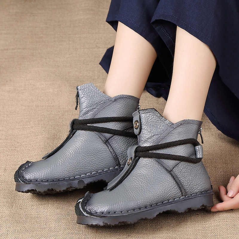 Xiuteng חדש אמיתי עור באיכות גבוהה קרסול מגפי אופנה נשים של מגפי חדש קצר אתחול חורף סגול אפור דירות מגפיים נשים
