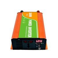 Digital 12VDC (10 15V) 300W Off Grid Inverter to 100 240VAC Ouput, Surge 600W Pure Sine Wave Solar Wind Inverter with USB
