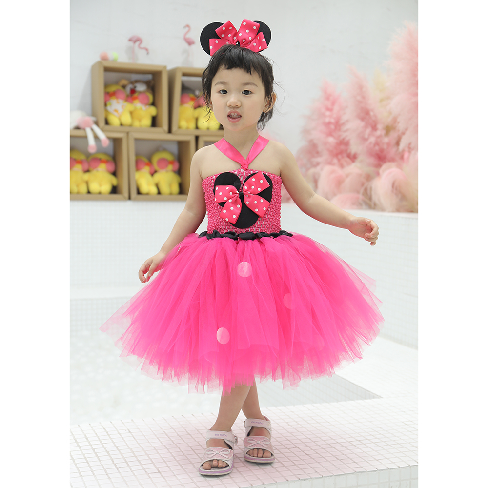 Girls Minnie Christmas Dresses Vestidos for Kids Fancy Minnie Birthday Party Comics Cosplay Tutu Dress Baby Photo Shoot Costumes
