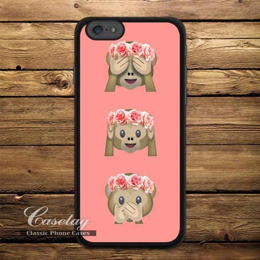 Floral Monkey Emoji Ultra Case Apple iPhone 6 Plus 5 5s 5C 4 4s Also iPod Lovely Funny Cover - Casetag store