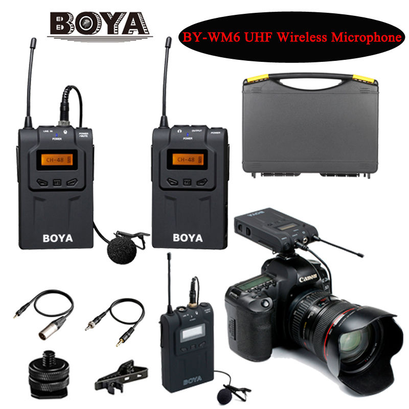 BOYA BY-WM6 Ultra High Frequency UHF Wireless Lavalier Microphone System for DSLR Camera Audio Recorder boya by wm6 uhf wireless acoustic transmission system microphone tour guiding simultaneous translation audio visual eduation