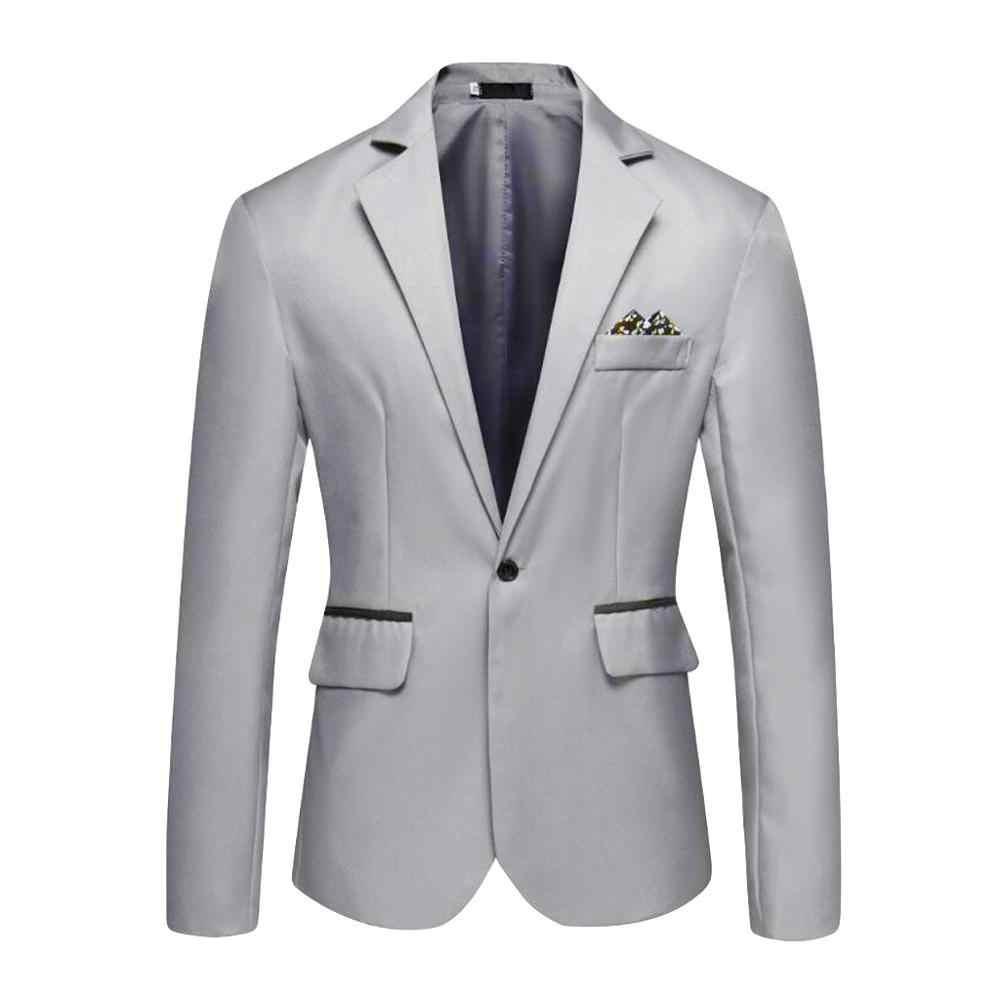 男性のスタイリッシュなカジュアル固体ブレザービジネスウェディングパーティー生き抜くコートスーツ男性 2019 春秋のスーツ男性スリムフィット