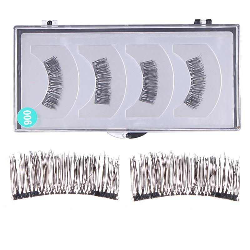 4pcs 3D Magnetic False Eyelashes Double Magnet Full Strip Magnetic Soft Hair Reusable Fake Eye Lashes Extension kit
