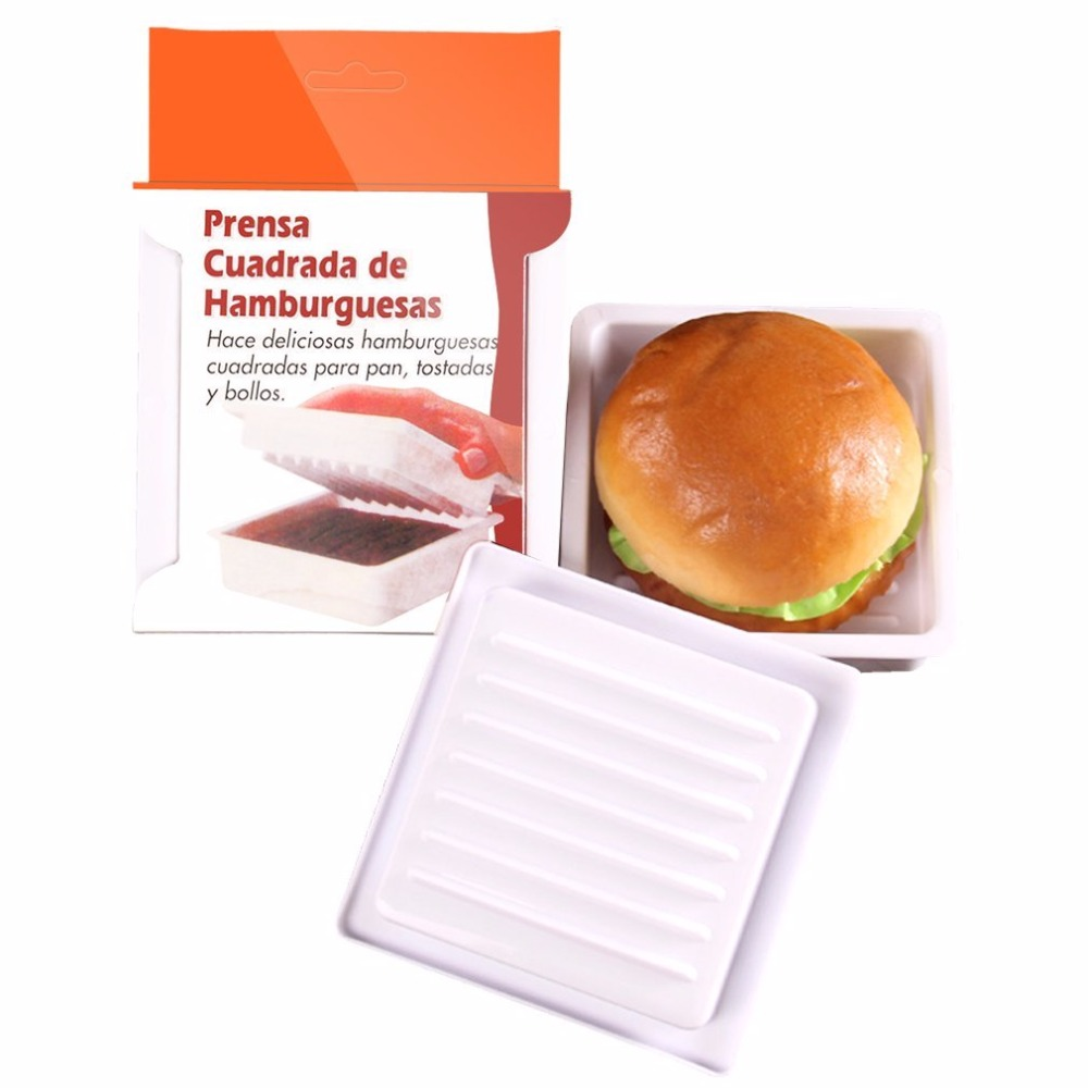 New Plastic Square burger Press Hamburger Patty Makers Kitchen Mold ...