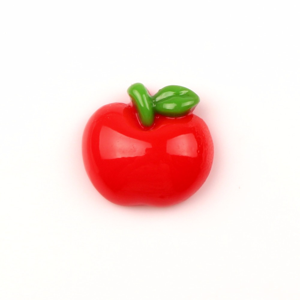 LF 30Pcs Resin Red Apple Decoration Crafts Flatback Cabochon Embellishments For Scrapbooking Kawaii Cute Diy Accessories