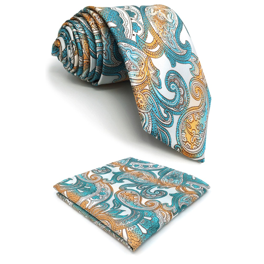 C4 Multicolor Abstract Paisley Silk Mens Necktie Set Wedding Fashion Novelty Ties for male extra long size Hanky 63