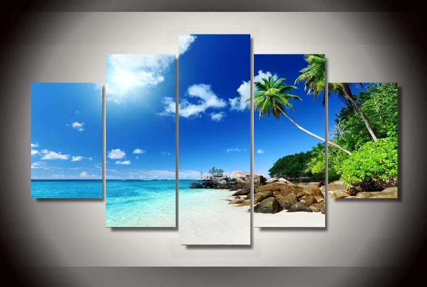 HD Printed Tropical Paradise Beach Coast Group Painting