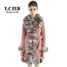 Hot Sales Pink Coat Women 3 Colors Genuine Pig Leather Jacket With Silver Fox Fur Collar Trims Warm Winter Fur Coats Women