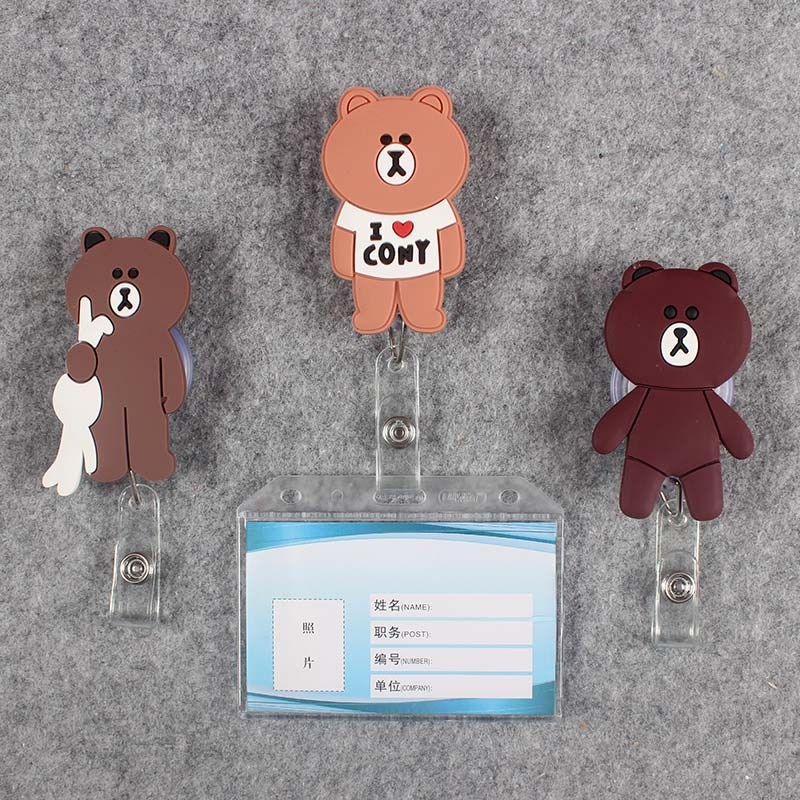 Women Men Badge Scroll Nurse Reel Bear PVC Character Scalable More Colors School Girls Exhibition ID Plastic Doctor Card Holder in Badge Holder Accessories from Office School Supplies