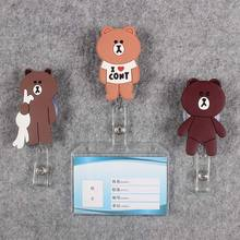 Women Men Badge Scroll  Nurse Reel Bear PVC Character Scalable More Colors School Girls Exhibition ID Plastic Doctor Card Holder