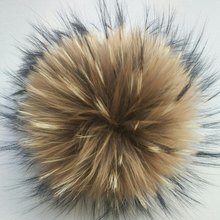 13-14cm Natural Raccoon Fur Pompons for Hats Real Fluffy Fur Pom Pom Pumpons for Caps   Skullies   Knitted   Beanies   Hats
