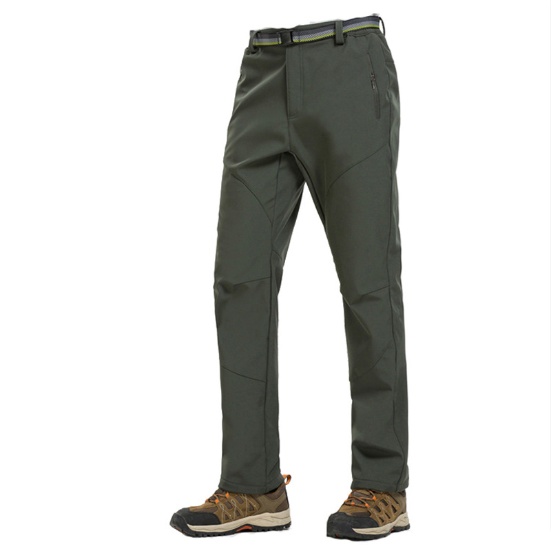 Mens Fleece Lined Soft Shell Pants Windproof Hiking Climbing Outdoor Trousers