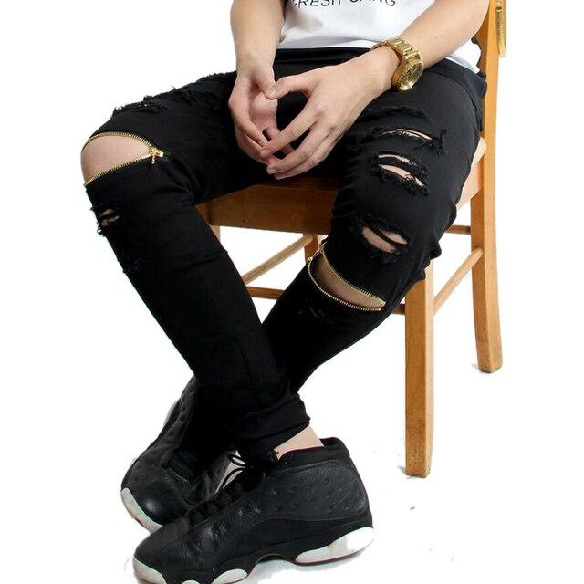 Nueva Marca De Alta De La Calle De Los Hombres Ripped Jeans Motorista De La Motocicleta Flaco Slim Fit Pantalones De Mezclilla Negro Destruido Swag De Corredores Kanye West En Pantalones Vaqueros