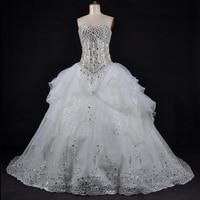 Balo Gelinlik WDC-006 Sonbahar Sevgiliye Balo Gelin Elbise Bling Bling Kristaller Aplike Vestidos De Noiva