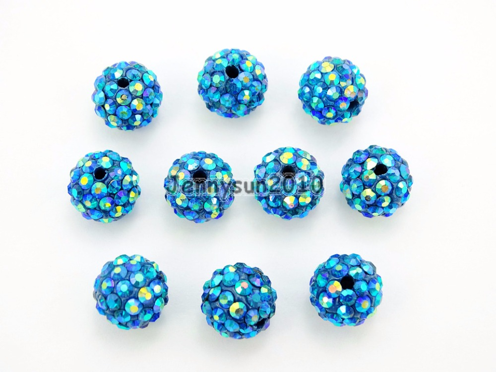 Beads & Jewelry Making 10mm Blue Zircon Ab Top Quality Czech Crystal Rhinestones Pave Clay Round Disco Ball Spacer Beads For Jewelry 50pcs Pack Rapid Heat Dissipation