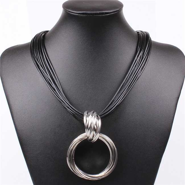 Free Shipping Vintage Alloy Circle Pendant Lots of Black Leather Chain Statement Necklaces Fashion Jewelry For Ladies