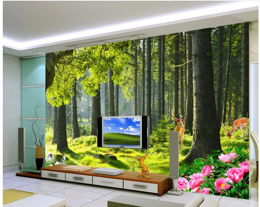 Aliexpress.com : Buy Wall Mural Photo Wallpaper Custom 3d Photo Wallpaper  3d Wall Murals Wallpaper Forest Trees Landscape Home Decoration From  Reliable ... Part 98