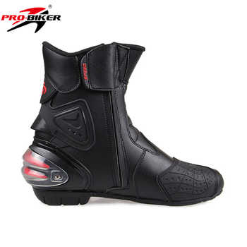 Men Motorcycle Boots PU Leather Motorsport Riding Racing Boots Motocross MX Shoes Motorbike Bike SPEED Protective Gear