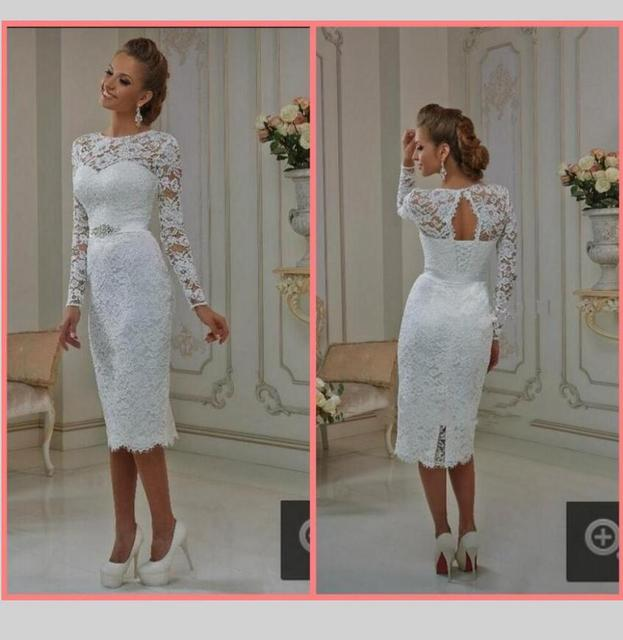 New Elegant White Ivory Lace Long Sleeve Tea Length Wedding Dresses 2016 Sheath Short Bride Bridal Gown