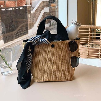NEW Capacity Straw Bags Women Handmade Woven Basket Bolsa Tote Summer Bohemian Beach Bags Luxury Brand canvas Lady Handbags 2
