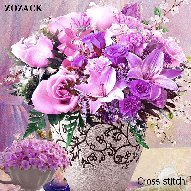 Zozack DMC DIY New Living Room House Precision Printing Cotton Cross Stitch Kits Embroidered Purple Roses Flowers Painting Decor