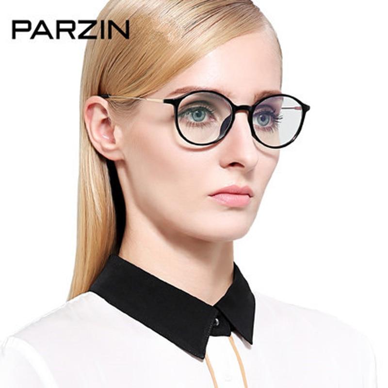Parzin Eyeglasses Frame Big Box Male Women Tr90 Vintage Glasses Myopia Glasses Frame Plain Mirror With Case Black 5028
