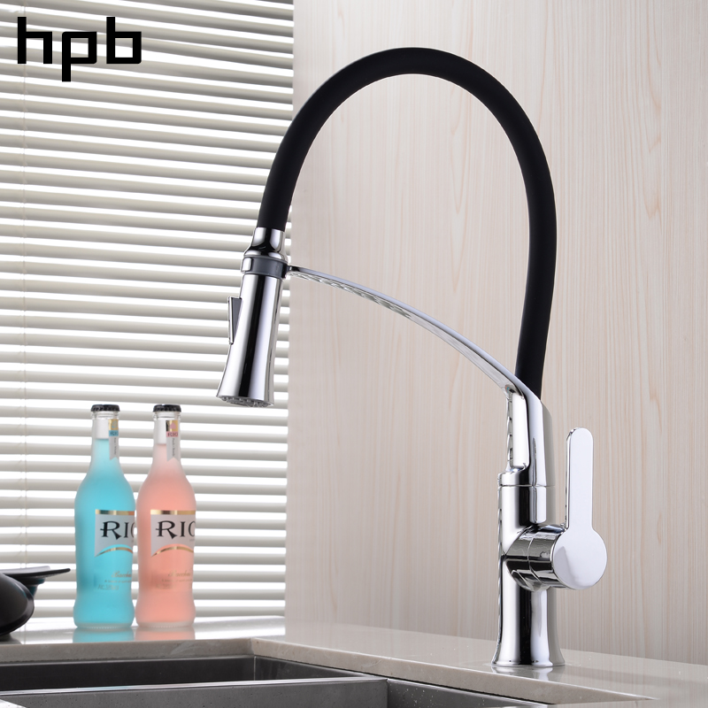 HPB Chrome Polish Rubber Flexible Pull Out Kitchen Faucet Sink Mixer Tap Single Handle Hot Cold Water 360 Degree Rotation HP4A19 new arrival pull out kitchen faucet chrome black sink mixer tap 360 degree rotation kitchen mixer taps kitchen tap