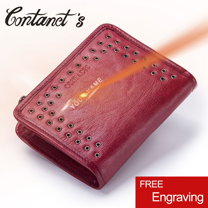 Contact's 2018 Womens Wallet Leather Genuine Small Short Wallets And Purses Luxury Brand Coin Pocket Money Bag With Card Holder nawo brand wallet women luxury brand genuine leather ladies purse for girls small card holder coin pocket money wallets short