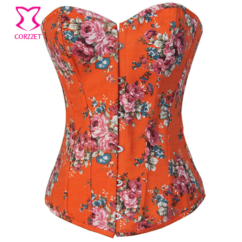 Floral Print Orange Denim   Corset   Overbust   Bustier   Sexy Cheap   Corsets   and   Bustiers   Women Corpetes E Espartilhos Gothic Clothing