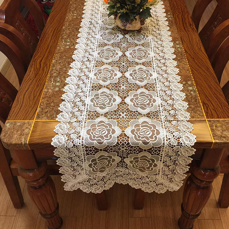 Flower Coffee Table.Lace Rose Flowers Tablecloth Towel Home Kitchen Room Decoration Dinning Coffee Table Cloth Hollow Embroidery Table Runner Cover