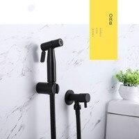 Simple style black toilet spray gun 304 stainless steel bathroom handheld bidet black fashion shower sprayer