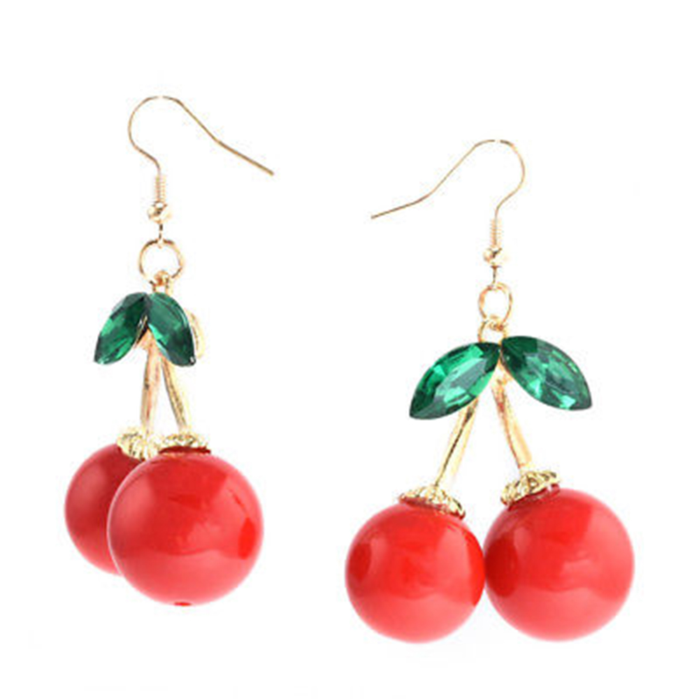 Fashion Women Cherry Drop Dangle Rhinestone Ear Hook Earrings Jewelry Gift 1Pair For Ladies Party Gift in Drop Earrings from Jewelry Accessories