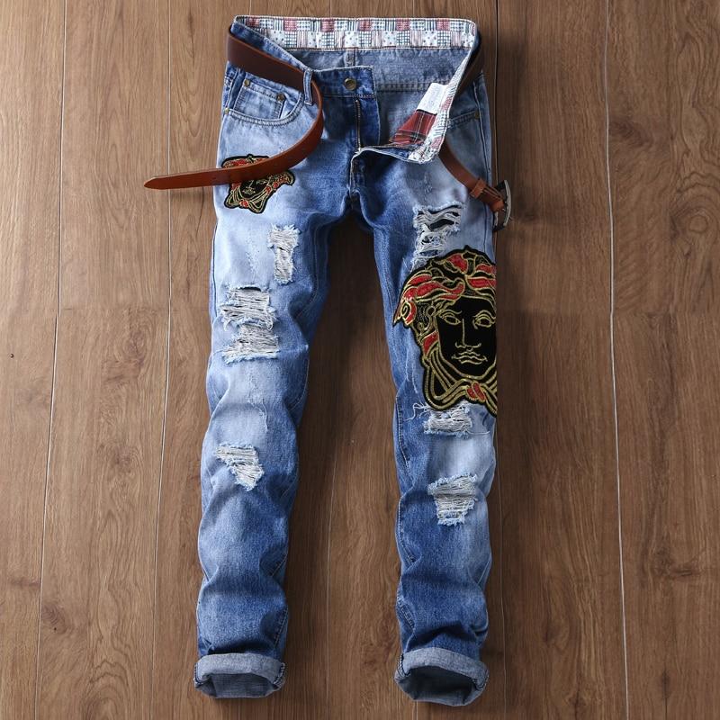 vaqueros pantalones hombres mezclilla famoso europeo americano lujo estilo marca jeans delgado bordado cremallera recto flores hombre azul slim
