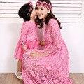 2016 Madre Hija Cuello Manga Larga Hueco Vestido de Gasa de Moda Los Niños Coreanos de Primavera mutter tochter flor vestidos del bebé