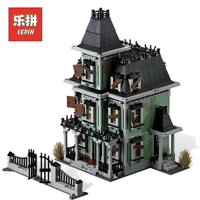 New LEPIN 16007 Monster Fighter the Haunted House Model set Building Kits Blocks Bricks Compatible with 10228 Children Gift lepin 16007 the haunted house set building blocks model compatible legoing 10228 monster fighter toy for kids halloween gift