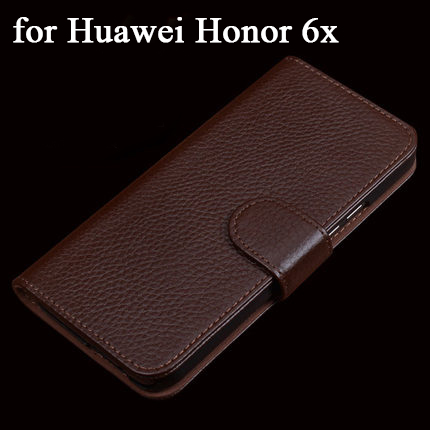 High Quality Wallet Phone Case for Huawei Honor 6x Luxury Cow Genuine Leather Flip Protective Slim Cover Skin for Huawei 6x