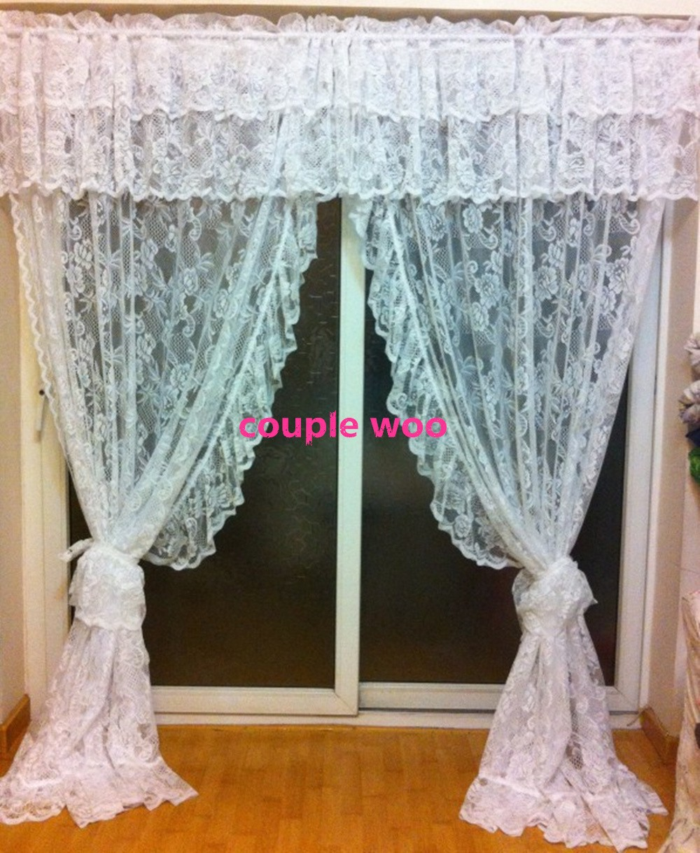 Crossover Lace Rose Kitchen Curtains With Dots Cross Over Cream 2pcs 127x213cm With 18 Cm And 46cm Valance Curtain Holds Kitchen Curtain Patternkitchen Curtain Aliexpress