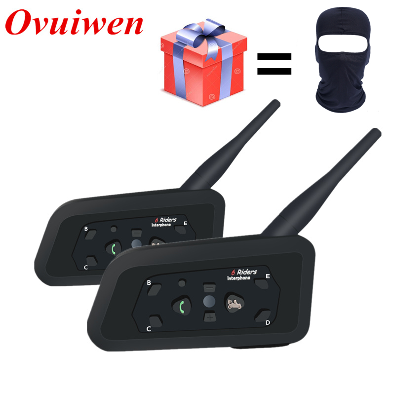 2 PCS V6 Motorrad Bluetooth Helm Headsets Intercom für 6 Fahrer BT Wireless Intercomunicador Sprech MP3 Bluetooth Headset