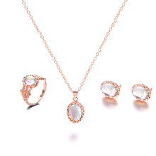 Vintage Opal Jewelry Sets For Woman Pendant Necklaces Choker Water Drop Earrings & Ring Gold Color Bohemia Wedding Jewelry Gifts