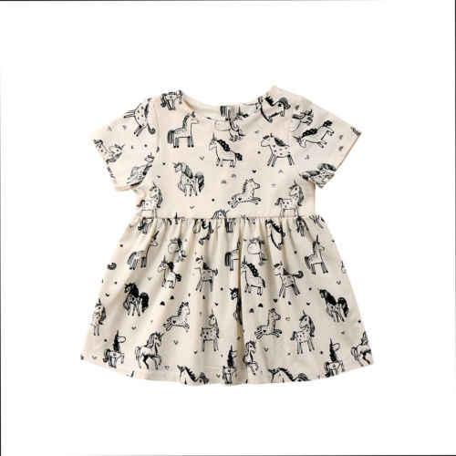 2018 bebé infantil del niño lindo Niñas ropa animal manga corta algodón  pony Tutu vestido trajes bf258e1de303