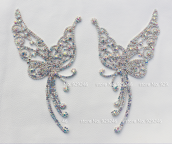 free shipping 1 pair /lot fashion butterfly ab crystal applique flatback garment sewing stones for dancing dress gown decoration
