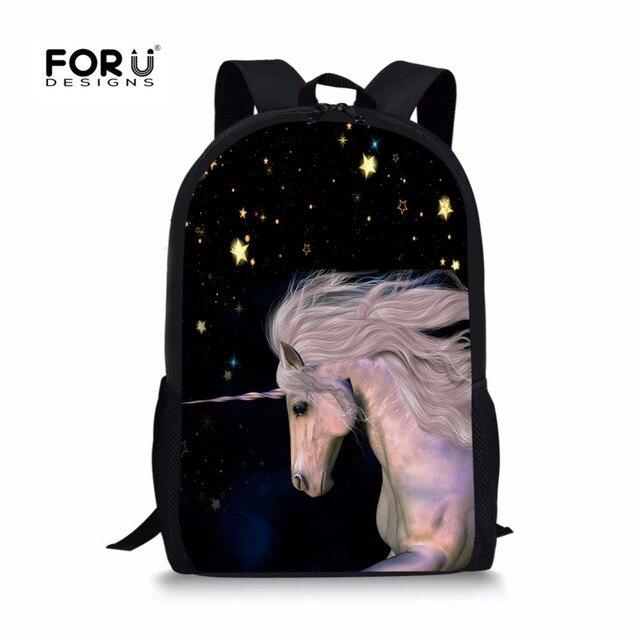 Forudesigns таинственные Единорог Школьный для мальчика и девочки Начальная школа рюкзак моды Тетрадь сумка ранец Детский мягкий ремешок
