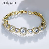 17.5CM OF 2019 square bracelet & bangle Plant Women high Quality 3A Cubic Zirconia Bracelet Designer statement jewelry