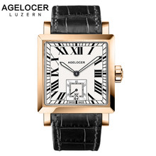 AGELOCER Watches Men Sports Watches Black steel Dual Time With Calendar Luminous Analog Gift Wristwatch Man