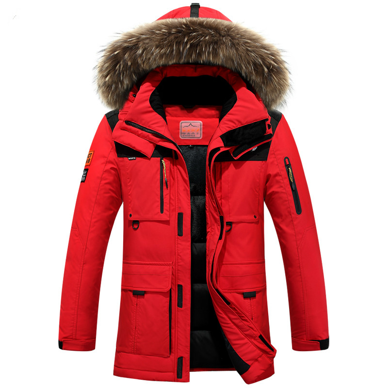 Plus Size Winter Jacket Men Thicken White Duck Down Coats Detachable Fur Hooded Feather  ...
